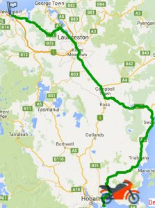 Bike trip map Devonport to Hobart